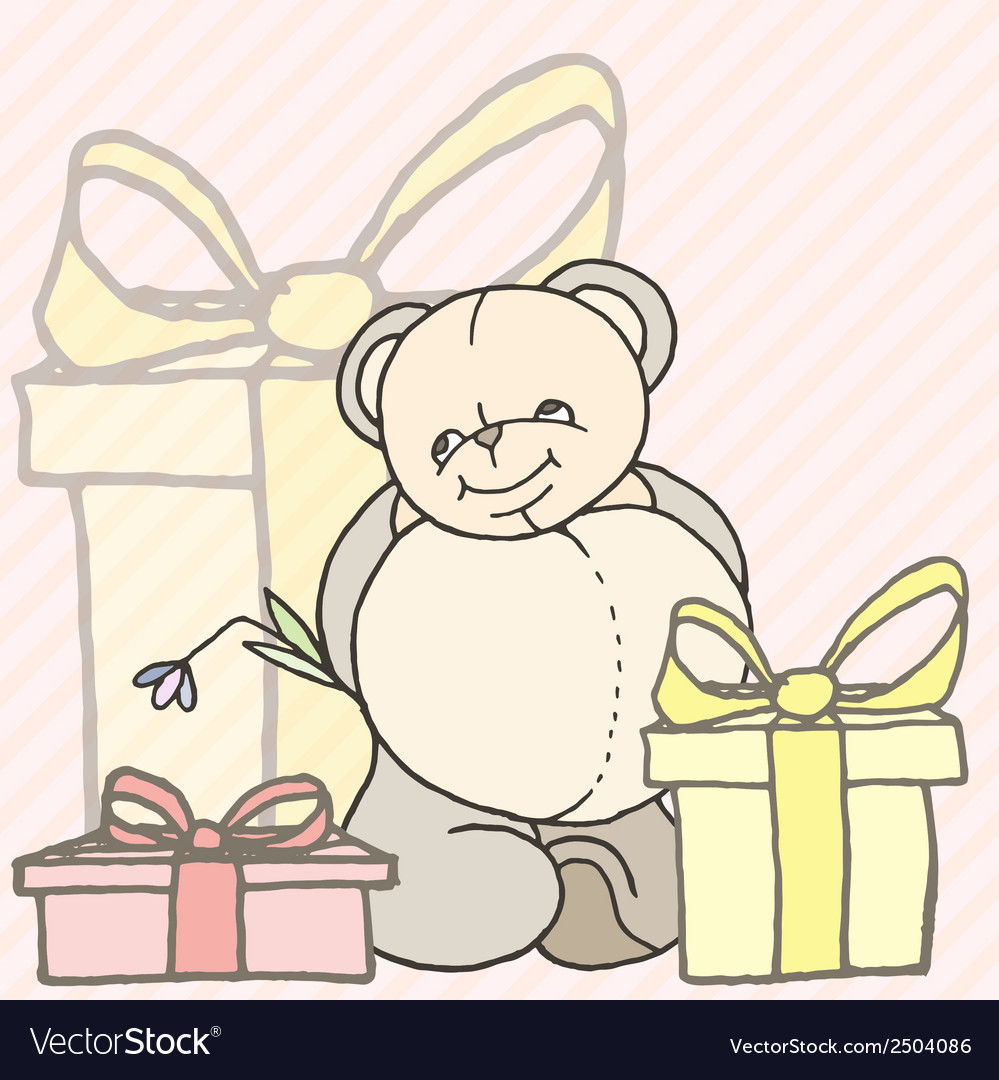 Teddy bear hand drawn design card vector | Price: 1 Credit (USD $1)