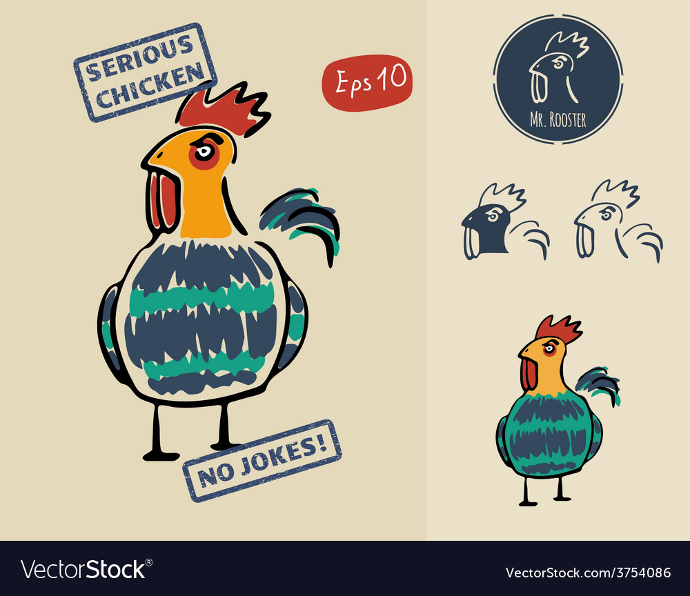 Very serious chicken for prints signs and labels vector   Price: 1 Credit (USD $1)