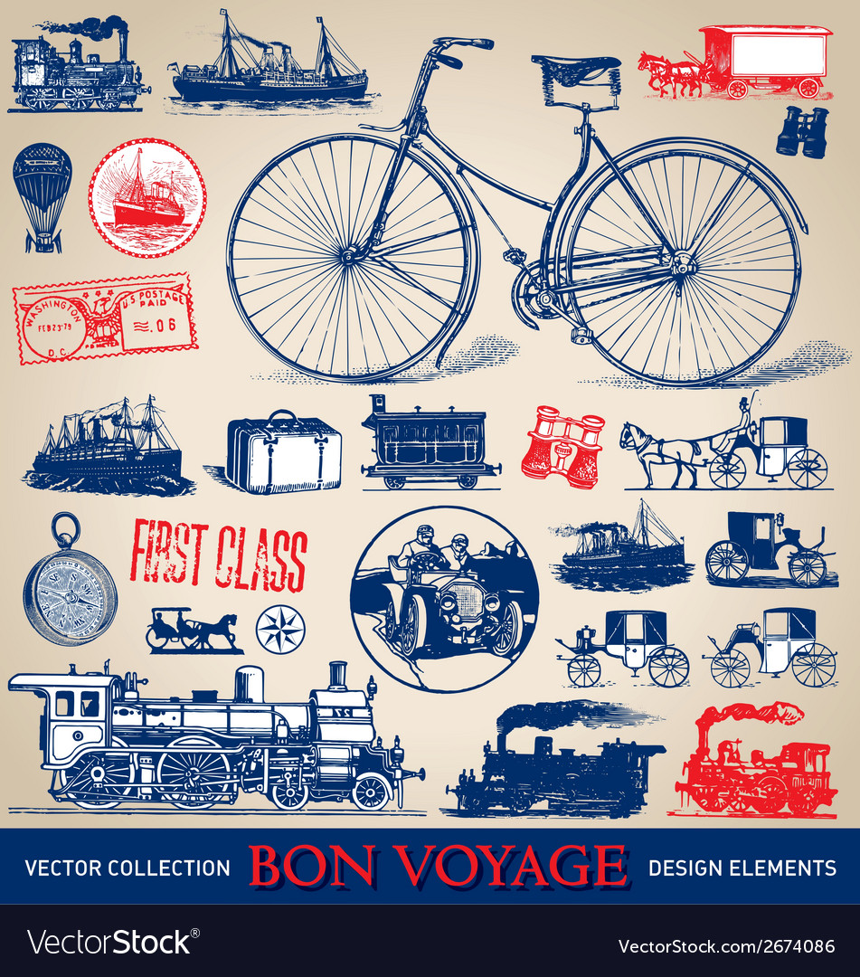 Vintage travel set vector | Price: 1 Credit (USD $1)