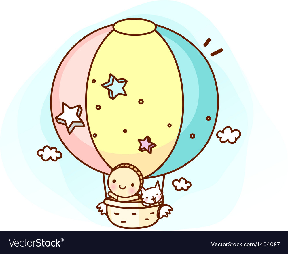 A floating hot-air balloon vector | Price: 1 Credit (USD $1)