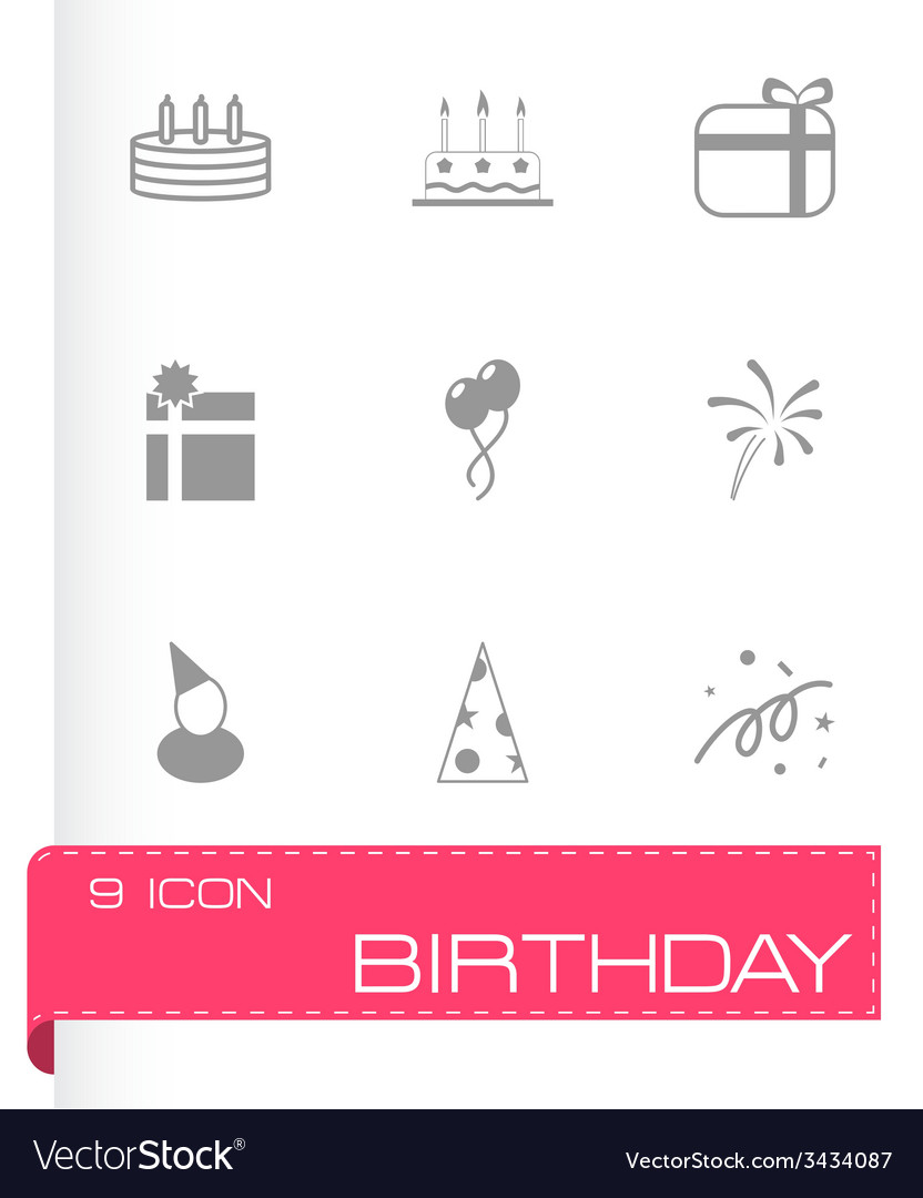 Black birthday icon set vector | Price: 1 Credit (USD $1)