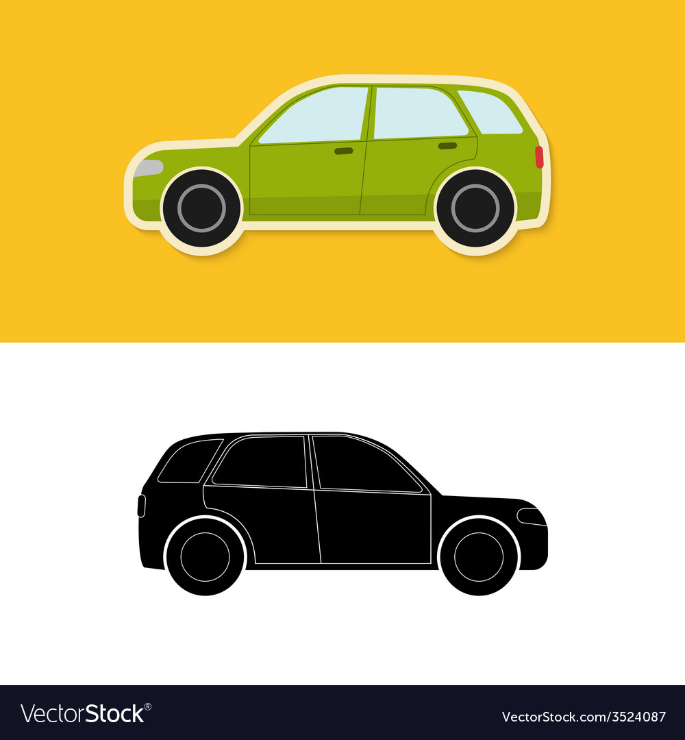 Car icon and silhouette vector | Price: 1 Credit (USD $1)