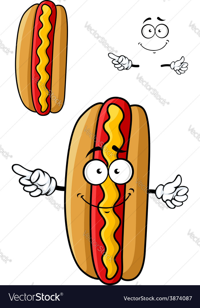 Cartooned smiling hot dog for fast food design vector | Price: 1 Credit (USD $1)