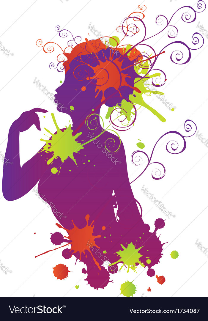 Female silhouette with swirls vector | Price: 1 Credit (USD $1)