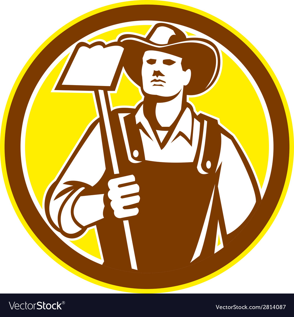 Organic farmer holding grab hoe circle retro vector | Price: 1 Credit (USD $1)