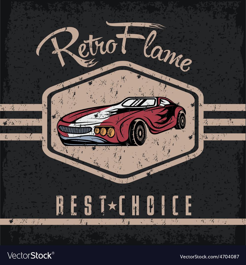 Retro sport car old vintage grunge poster vector | Price: 1 Credit (USD $1)