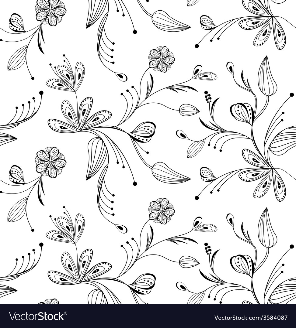 Seamless floral pattern balck and white vector   Price: 1 Credit (USD $1)