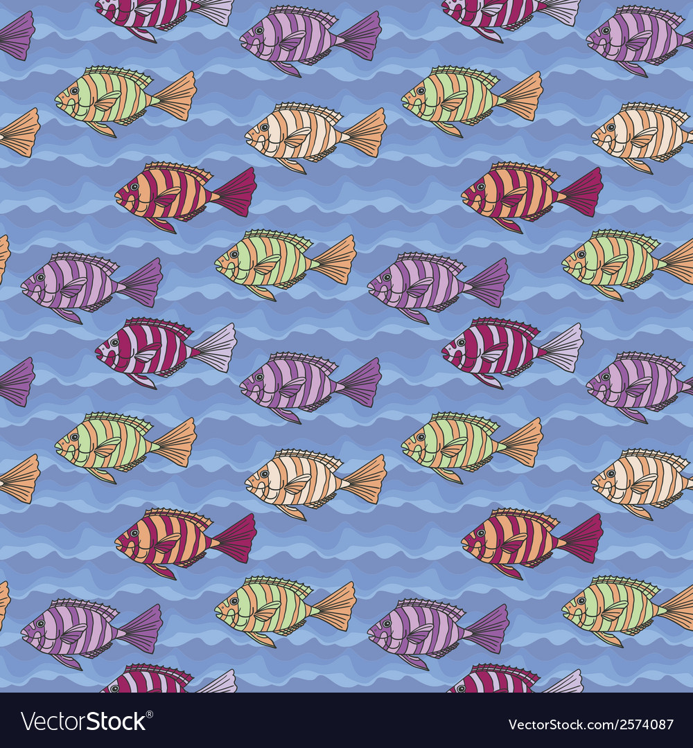 Seamless texture with fishes vector | Price: 1 Credit (USD $1)