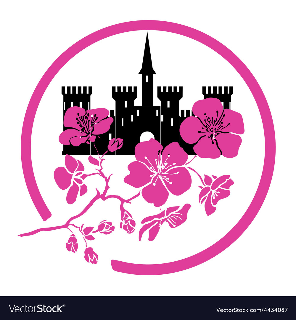 Twig sakura blossoms and castle logo vector | Price: 1 Credit (USD $1)