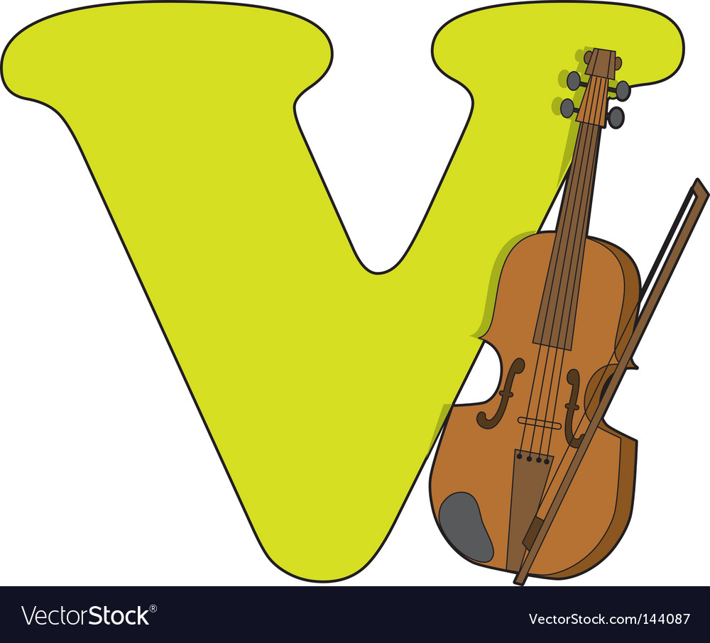 V is for violin vector | Price: 1 Credit (USD $1)