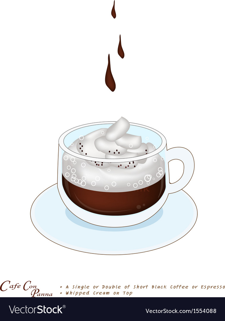 A cup of espresso con panna with whipped cream vector | Price: 1 Credit (USD $1)