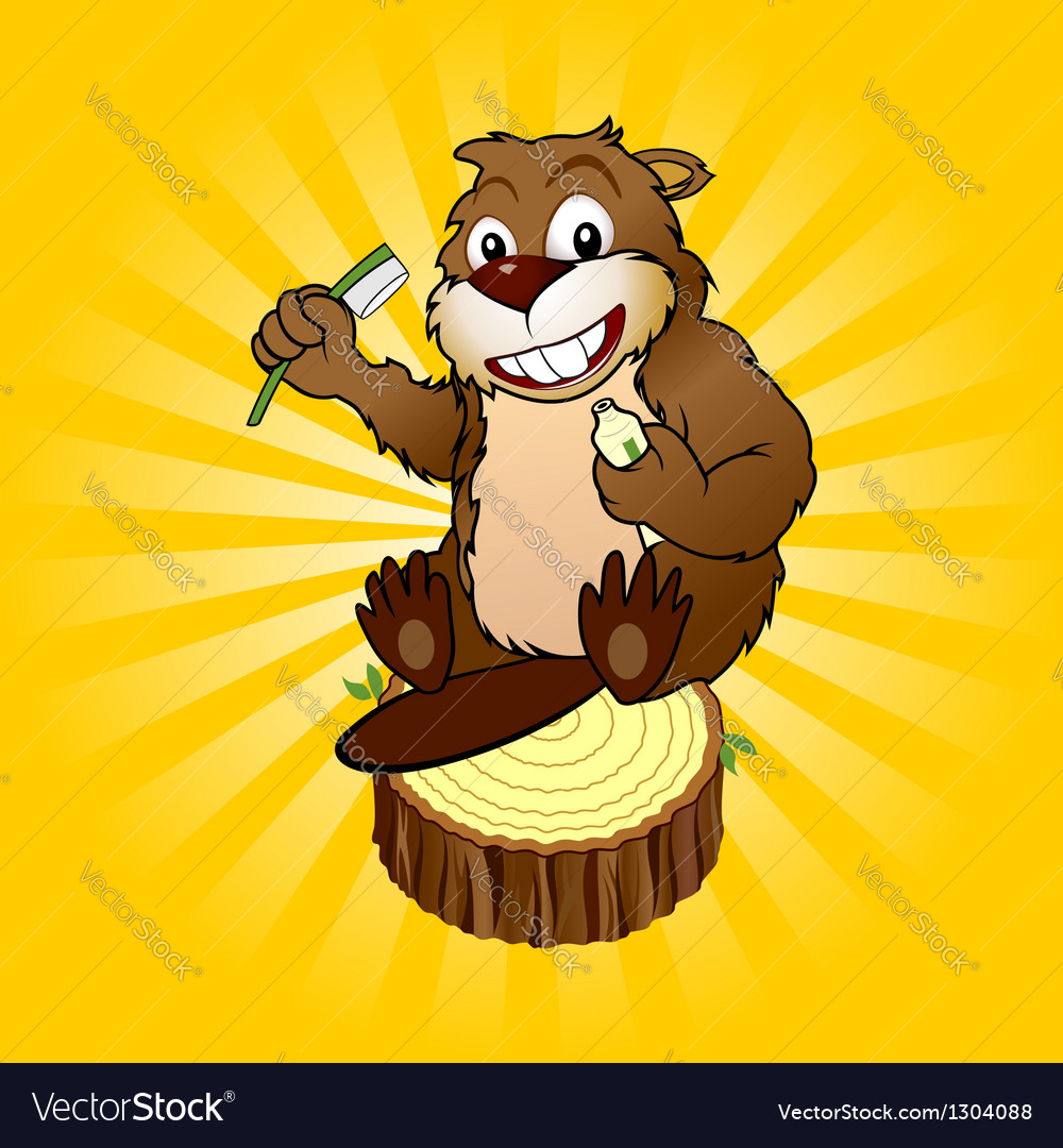 Beaver with a toothbrush vector | Price: 1 Credit (USD $1)