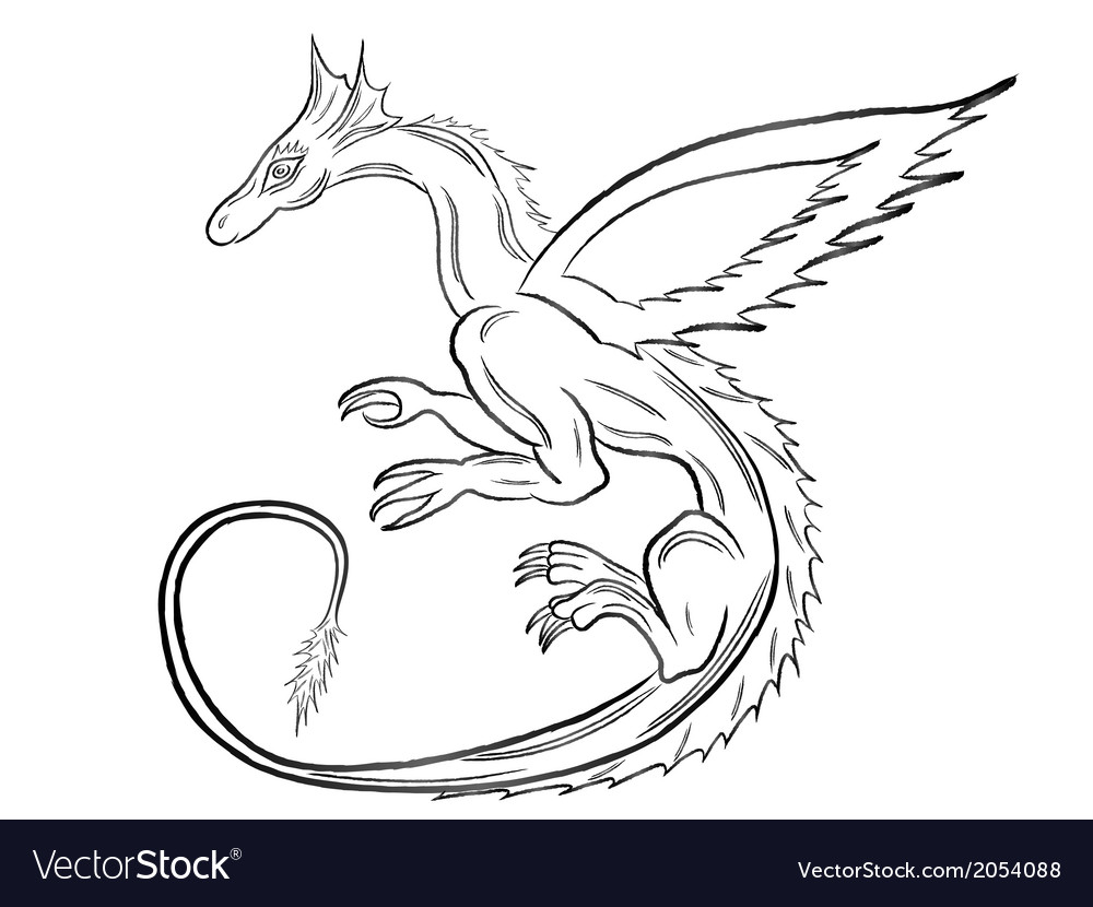 Black dragon over white vector | Price: 1 Credit (USD $1)