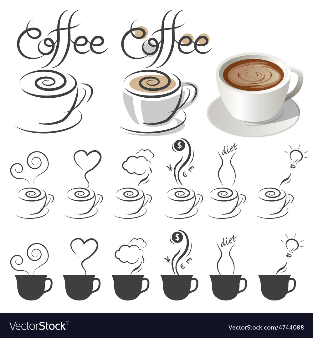 Coffee cup icons with text and smoke ideas vector