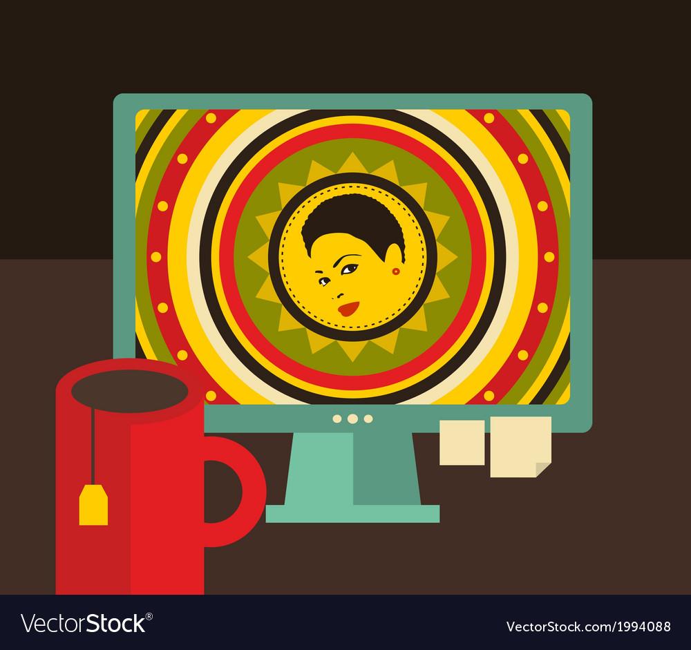Computer screen i retro colors vector | Price: 1 Credit (USD $1)