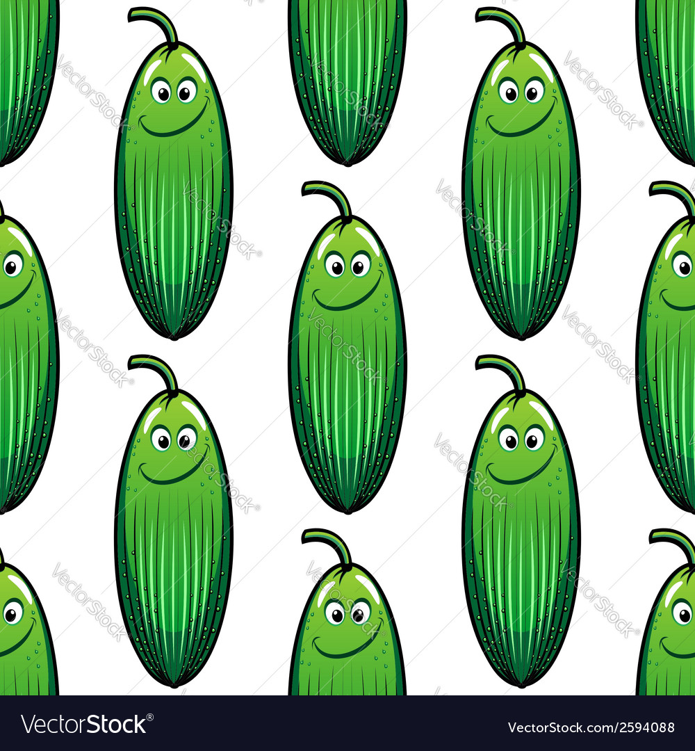 Cute green cucumber in a seamless pattern vector | Price: 1 Credit (USD $1)