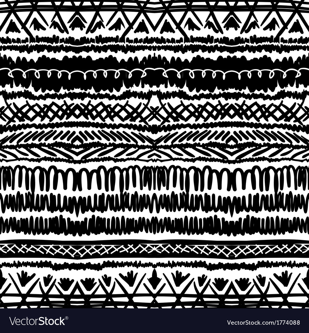 Ethnic pattern in black and white with stripes vector | Price: 1 Credit (USD $1)