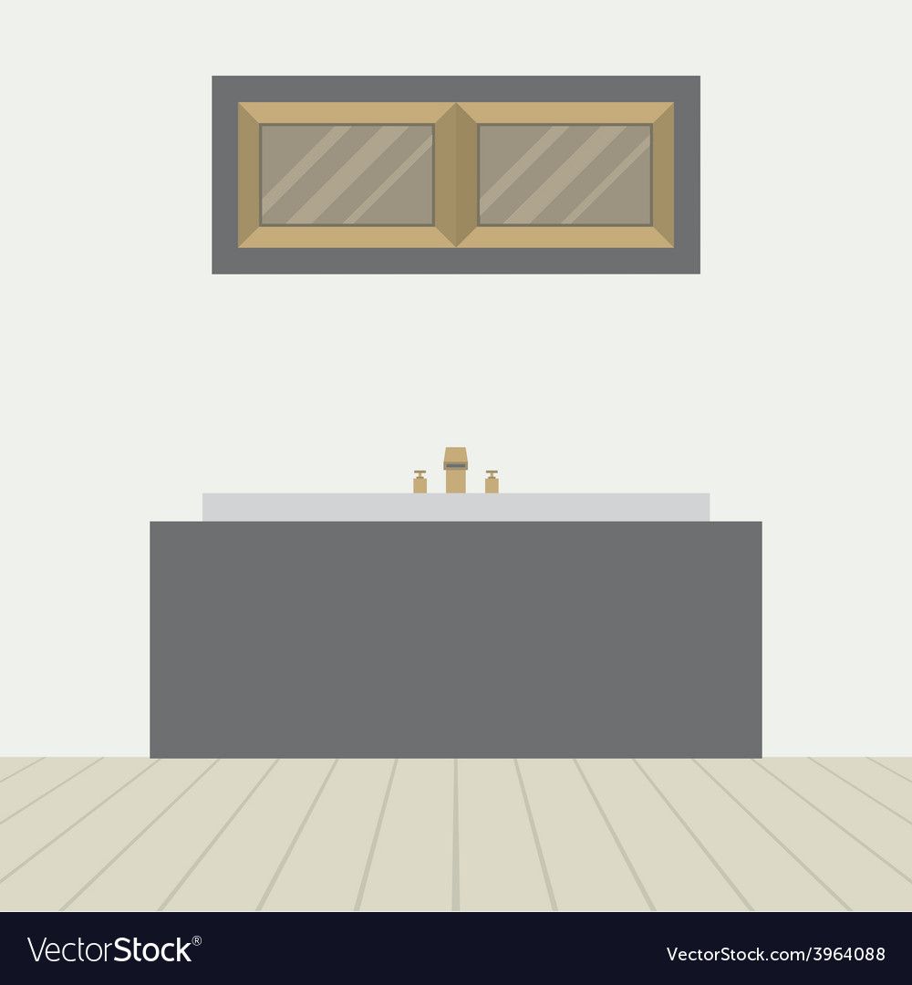 Flat design bathtub in bathroom vector | Price: 1 Credit (USD $1)