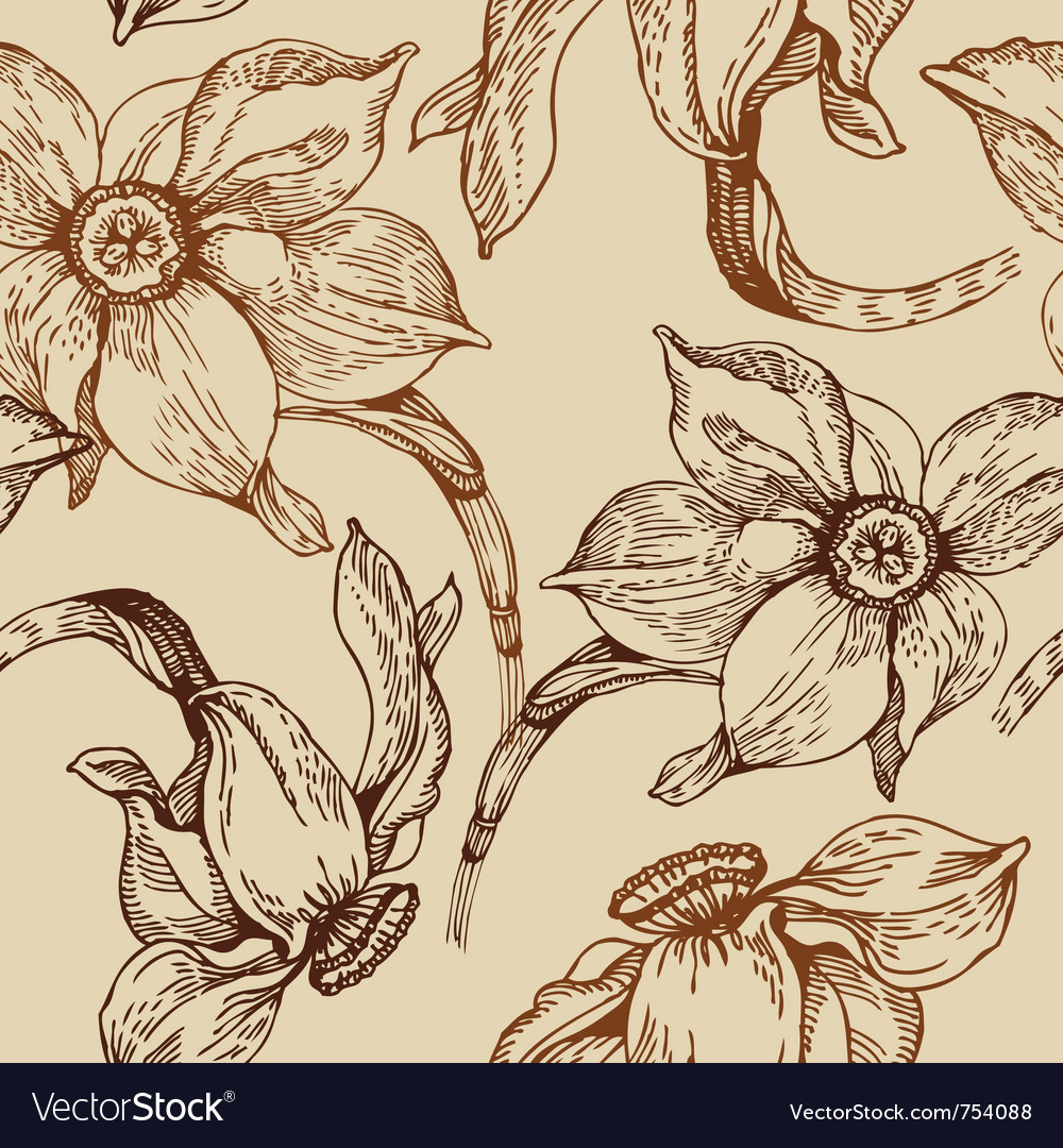 Floral seamless pattern with narcissus vector   Price: 1 Credit (USD $1)