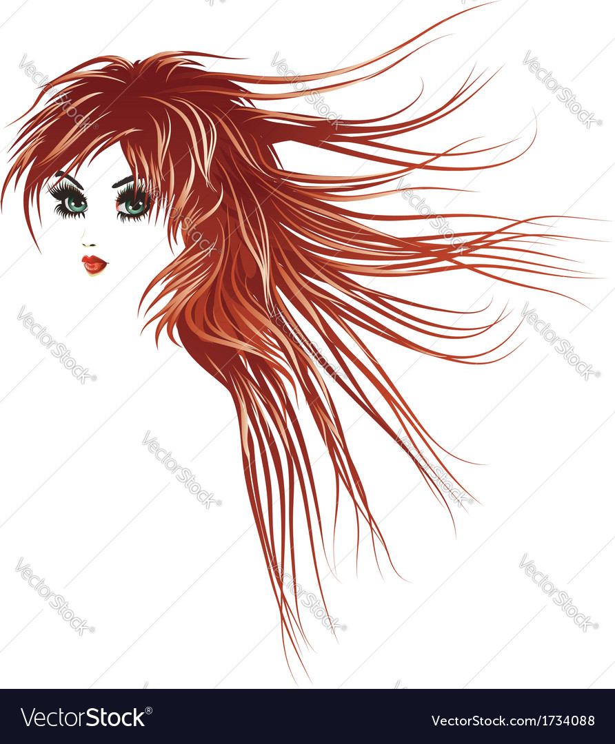 Girl with long red hair2 vector | Price: 1 Credit (USD $1)