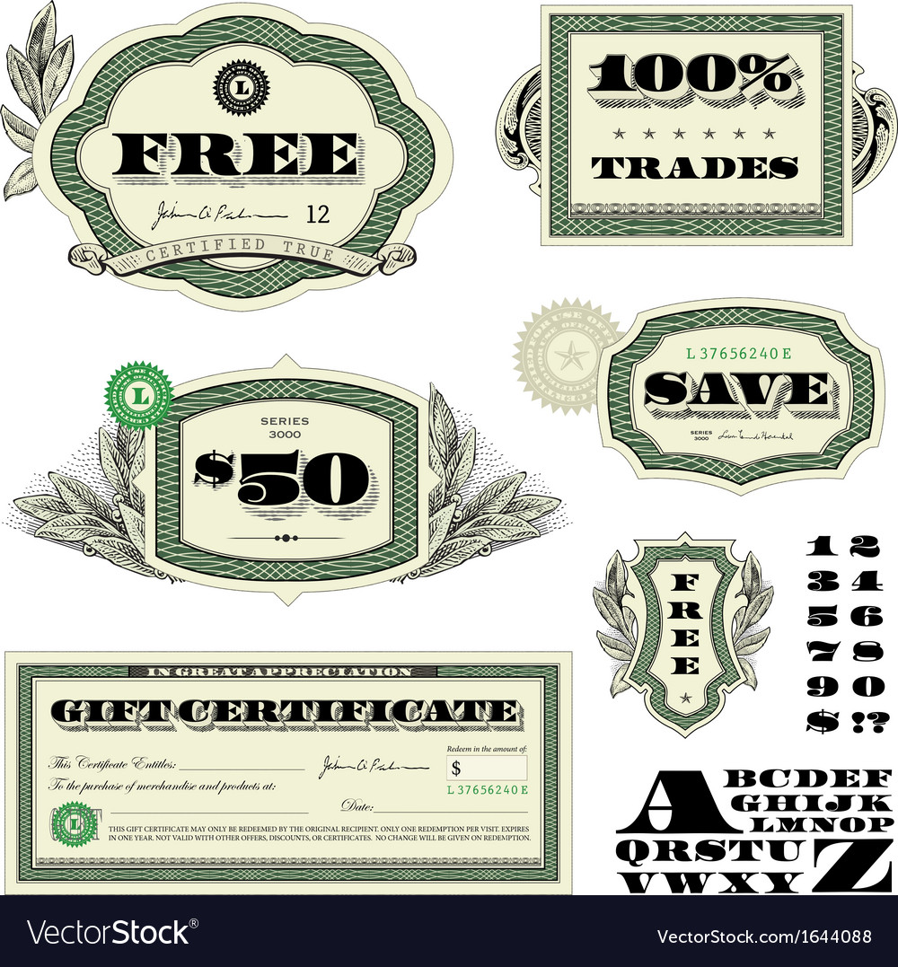 Money and numbers set vector | Price: 1 Credit (USD $1)