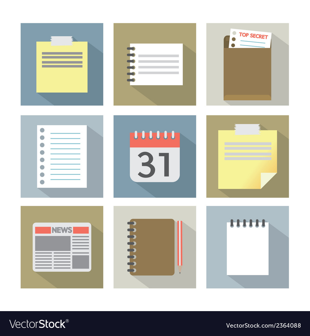 Office document icons vector | Price: 1 Credit (USD $1)