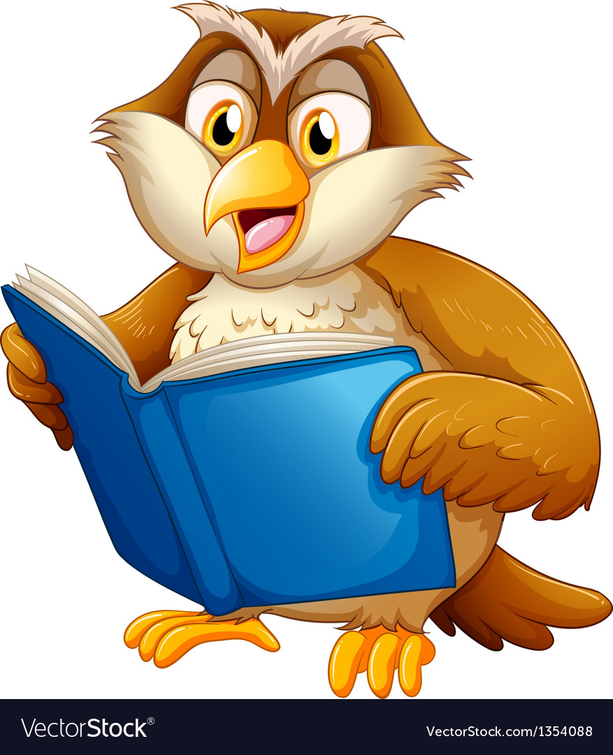 Owl reading vector | Price: 1 Credit (USD $1)