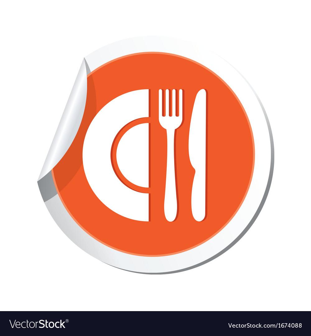 Restaurant icon orange sticker vector   Price: 1 Credit (USD $1)