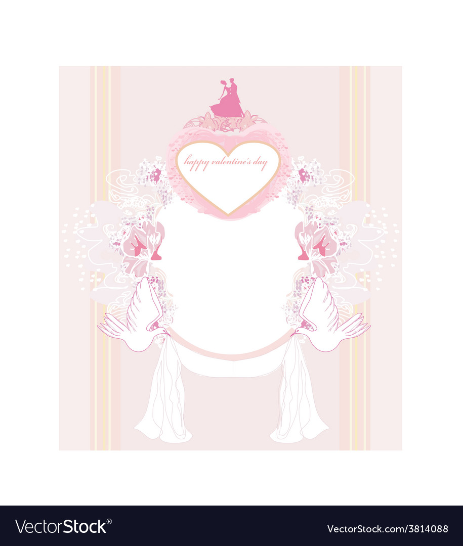 Romantic card with dancing couple love birds and vector | Price: 1 Credit (USD $1)