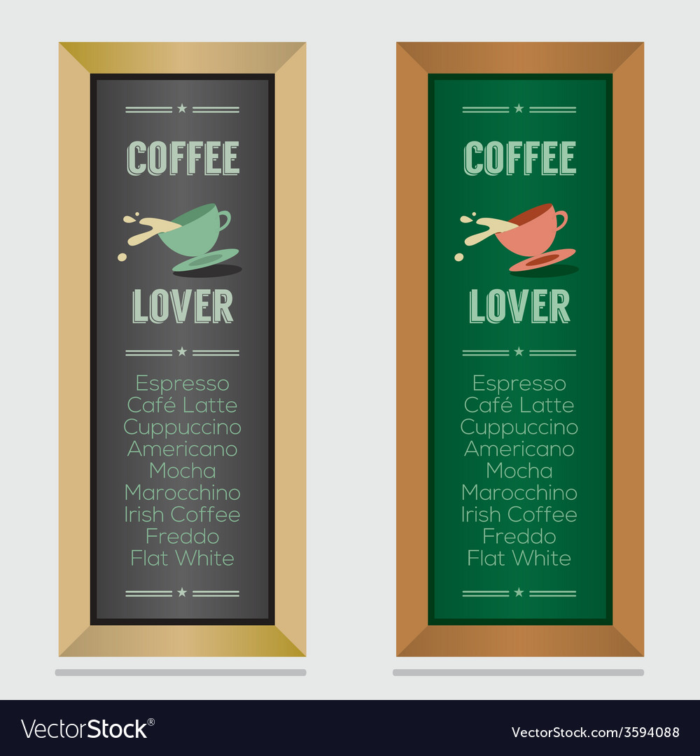 Set of isolated coffee menu board vector   Price: 1 Credit (USD $1)