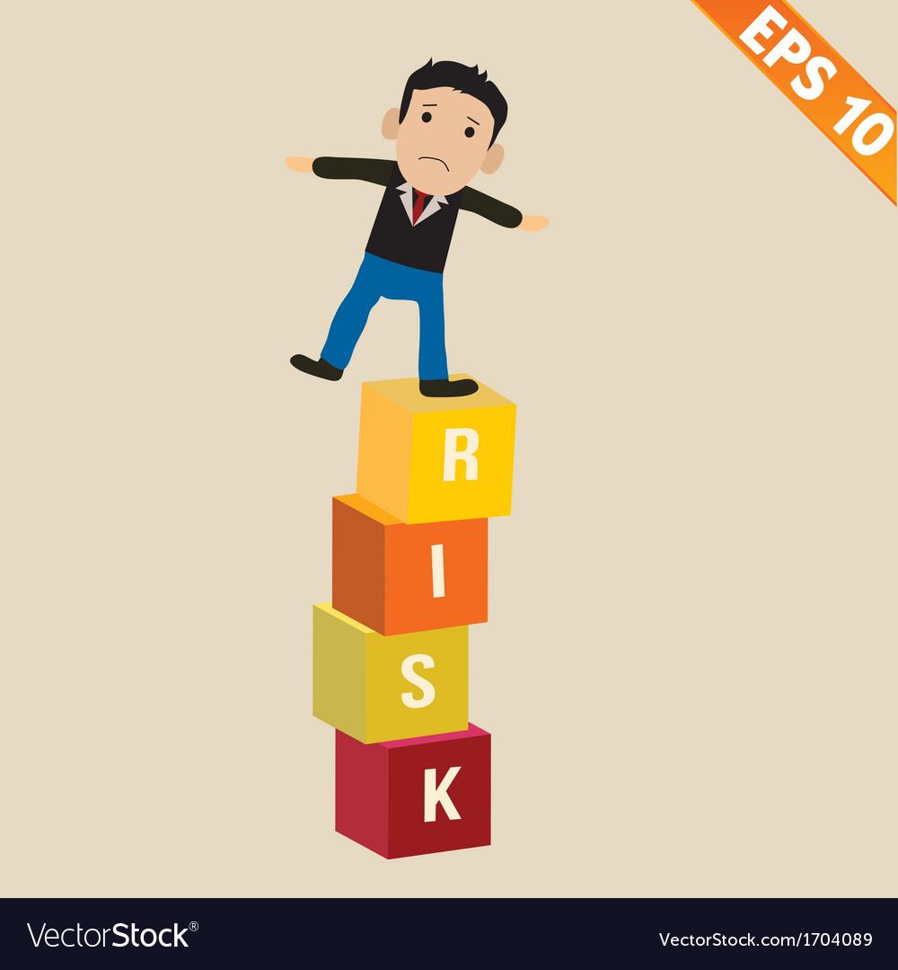 Cartoon businessman stand on risk block - - vector | Price: 1 Credit (USD $1)