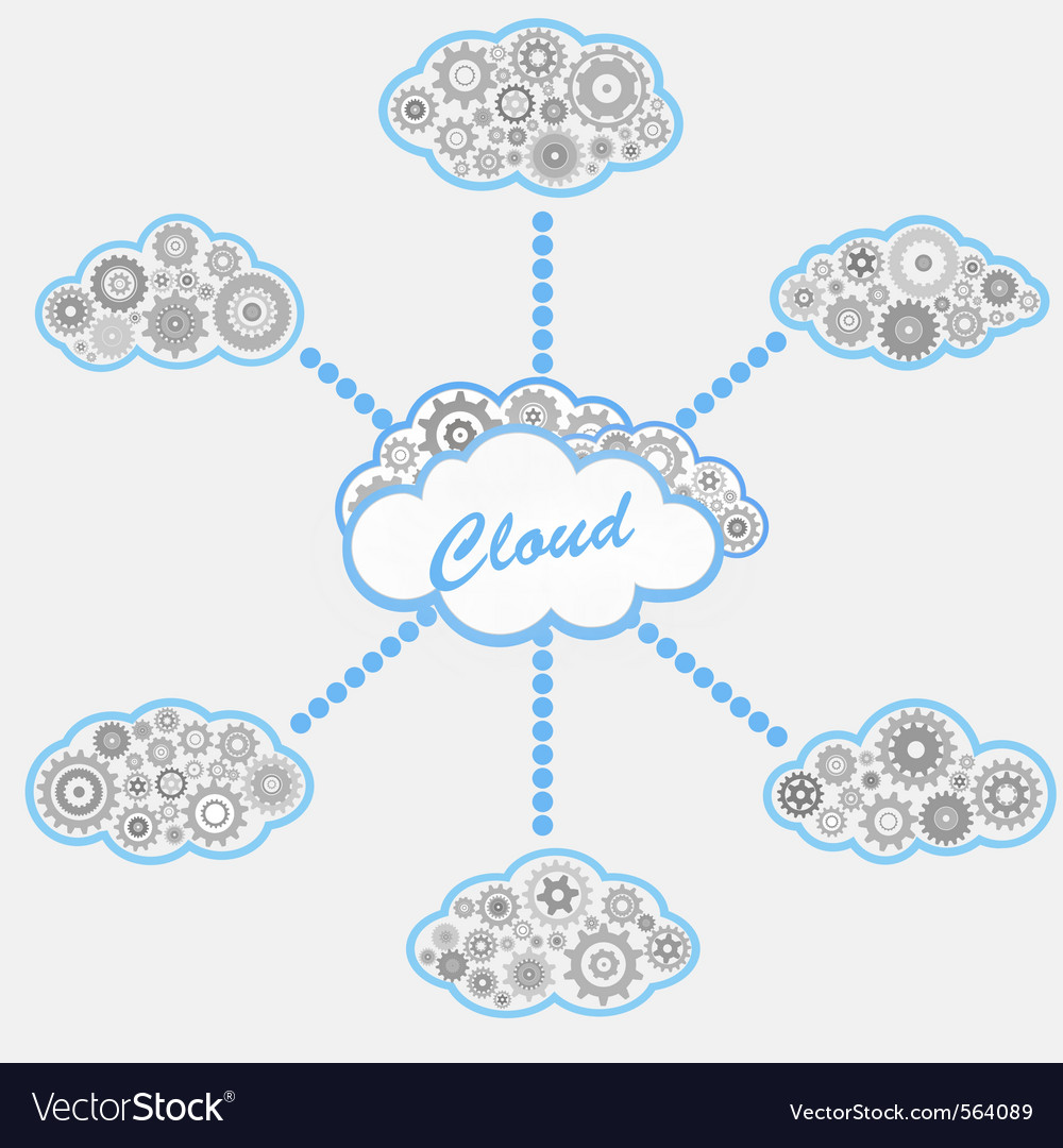 Computer cloud service vector | Price: 1 Credit (USD $1)