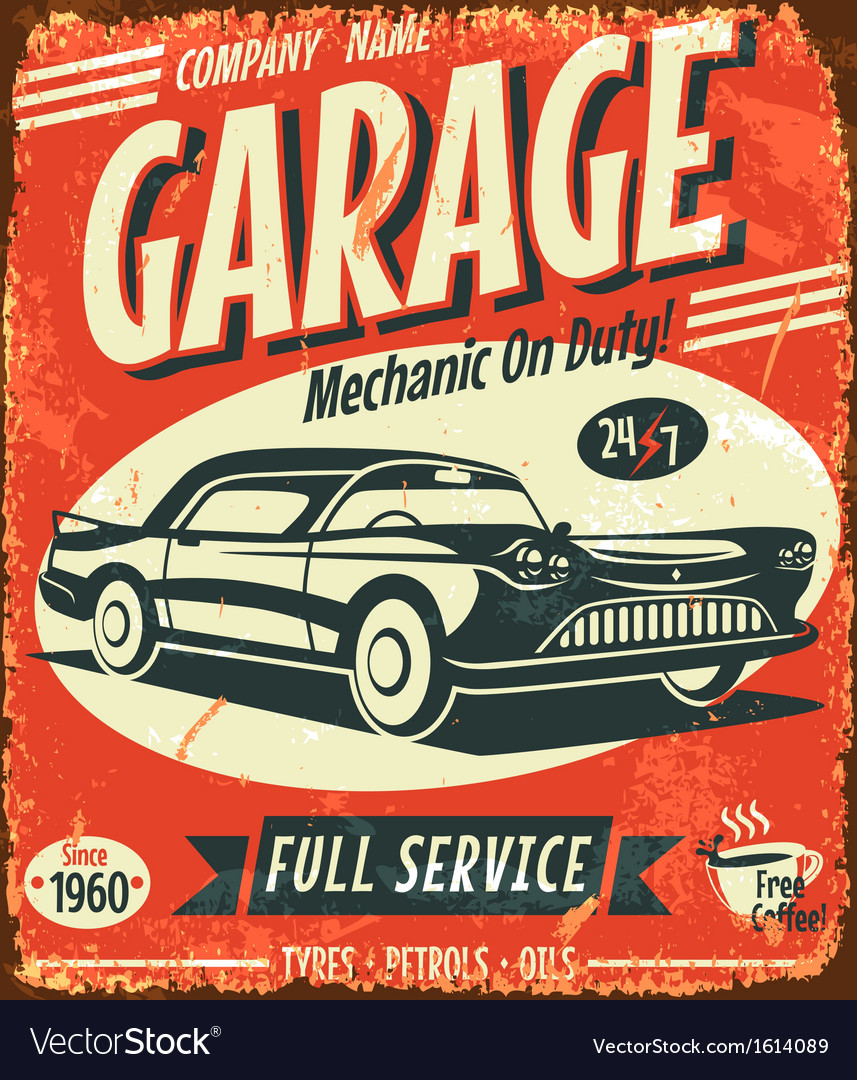 Grunge retro car service sign vector