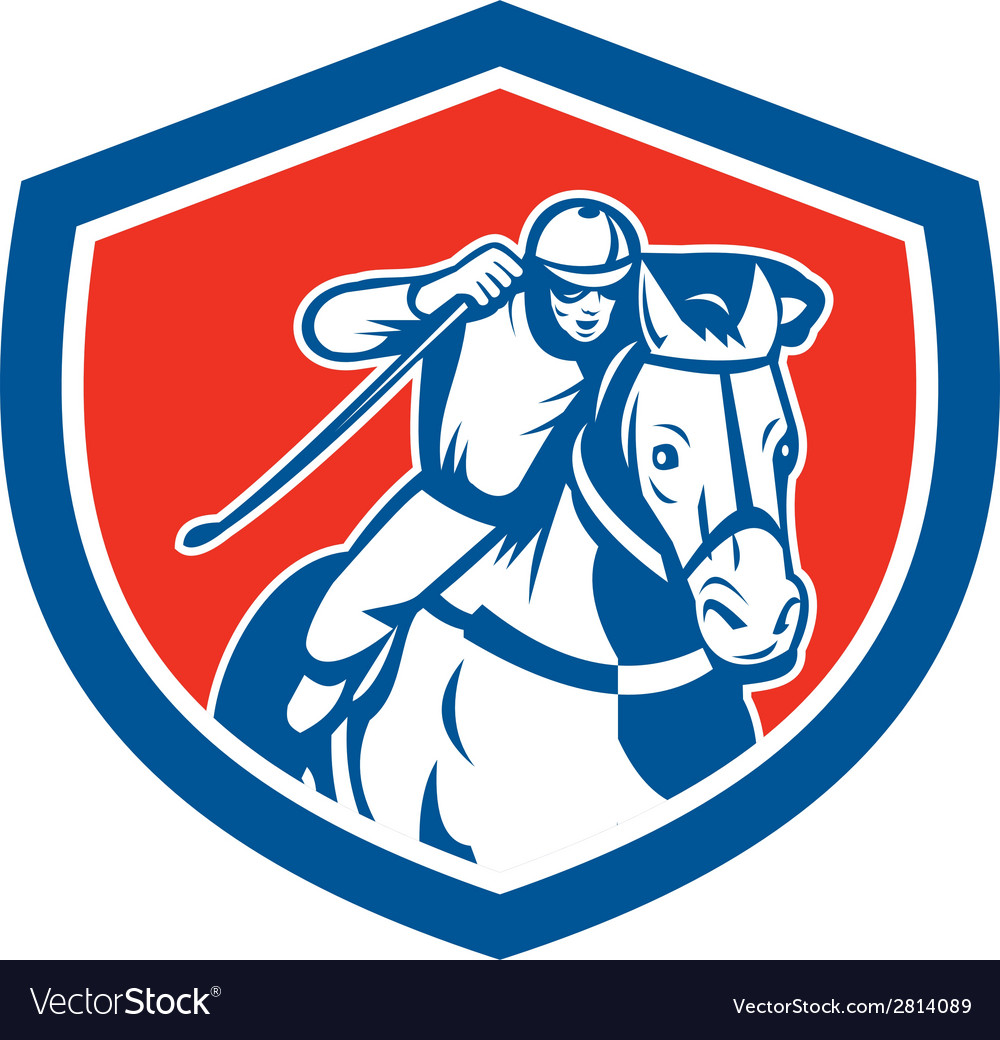 Horse racing jockey shield retro vector | Price: 1 Credit (USD $1)