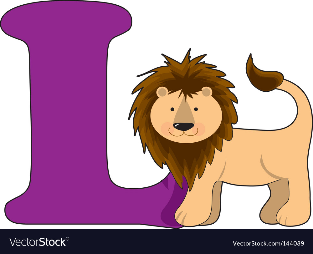 L is for lion vector