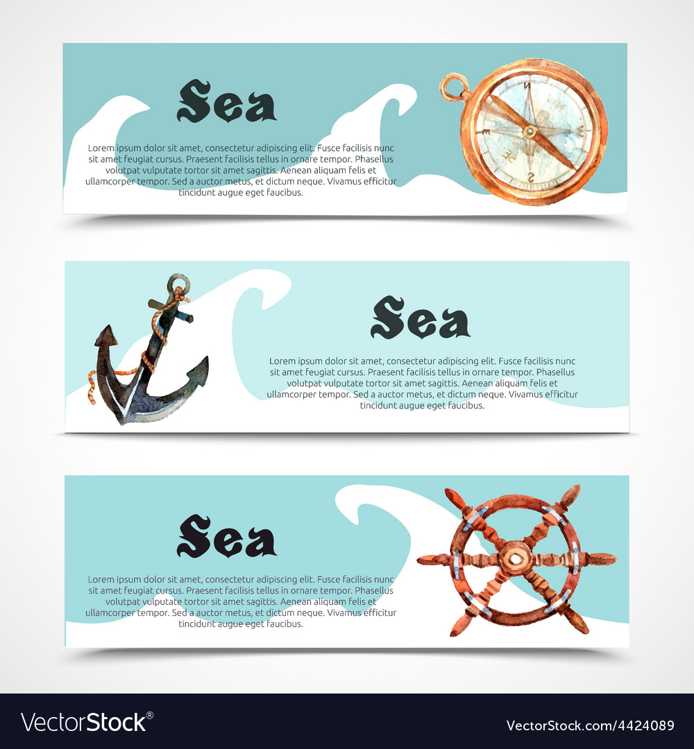 Nautical banner set vector | Price: 1 Credit (USD $1)