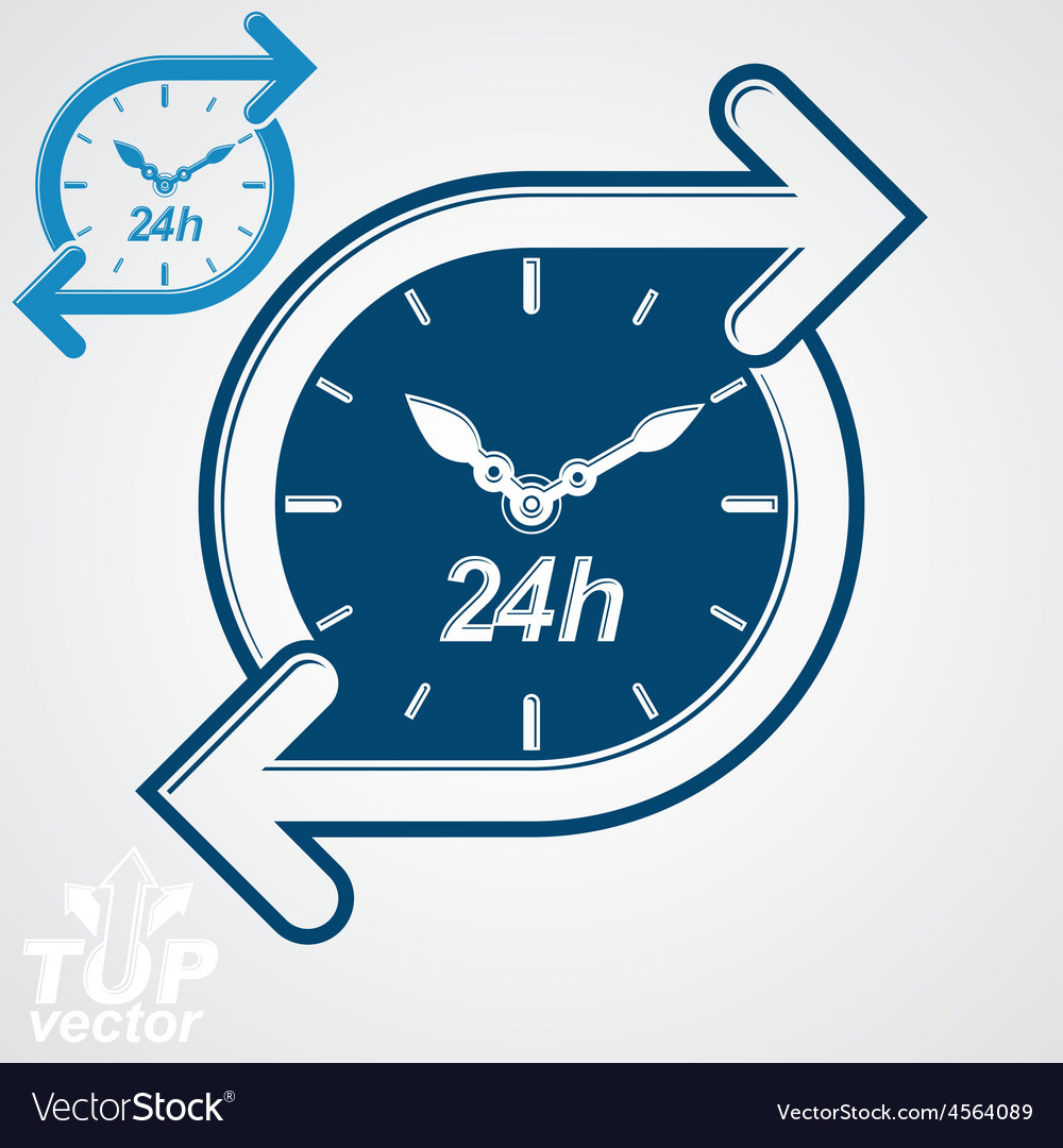 Simple 24 hours timer around-the-clock flat vector | Price: 1 Credit (USD $1)