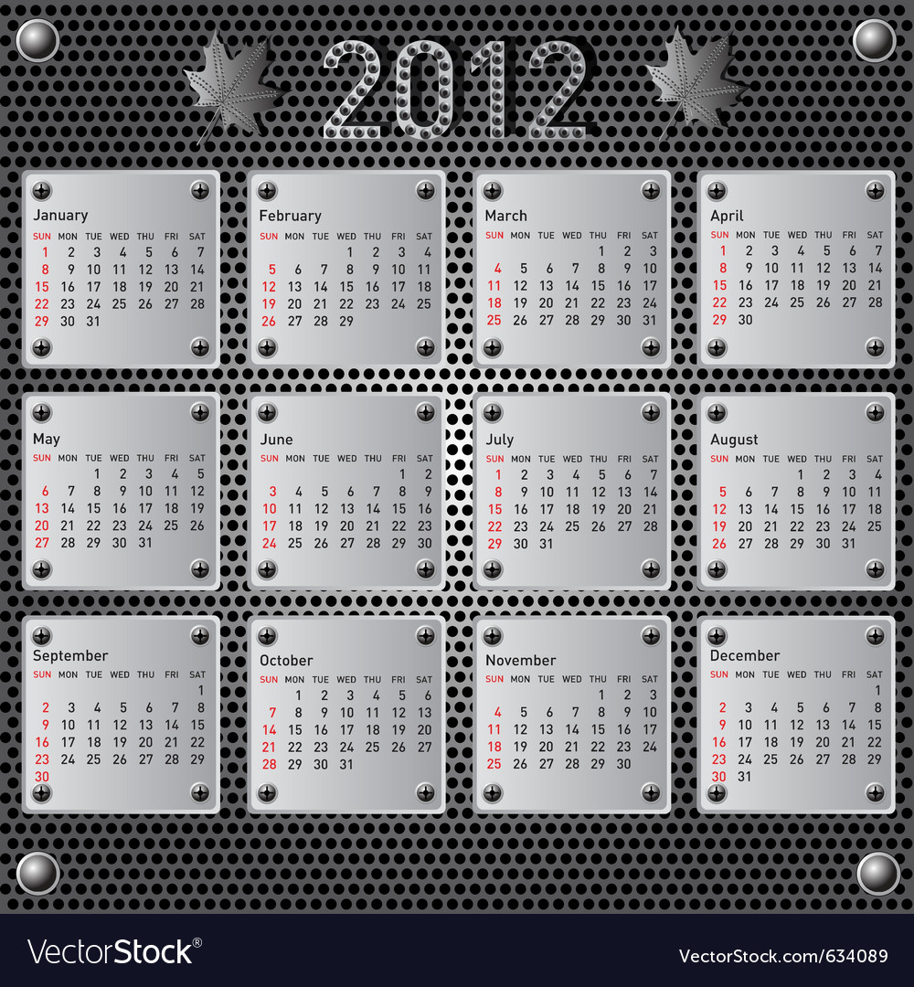 Stylish calendar with metallic effect for 2012 sun vector | Price: 1 Credit (USD $1)