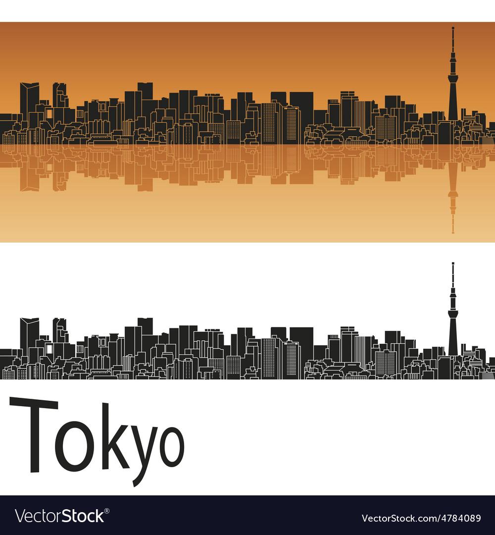 Tokyo v2 skyline in orange background in editable vector