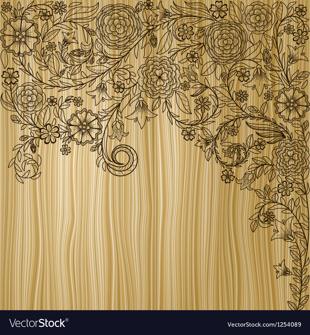 Vintage background with doodle flowers on wooden vector | Price: 1 Credit (USD $1)