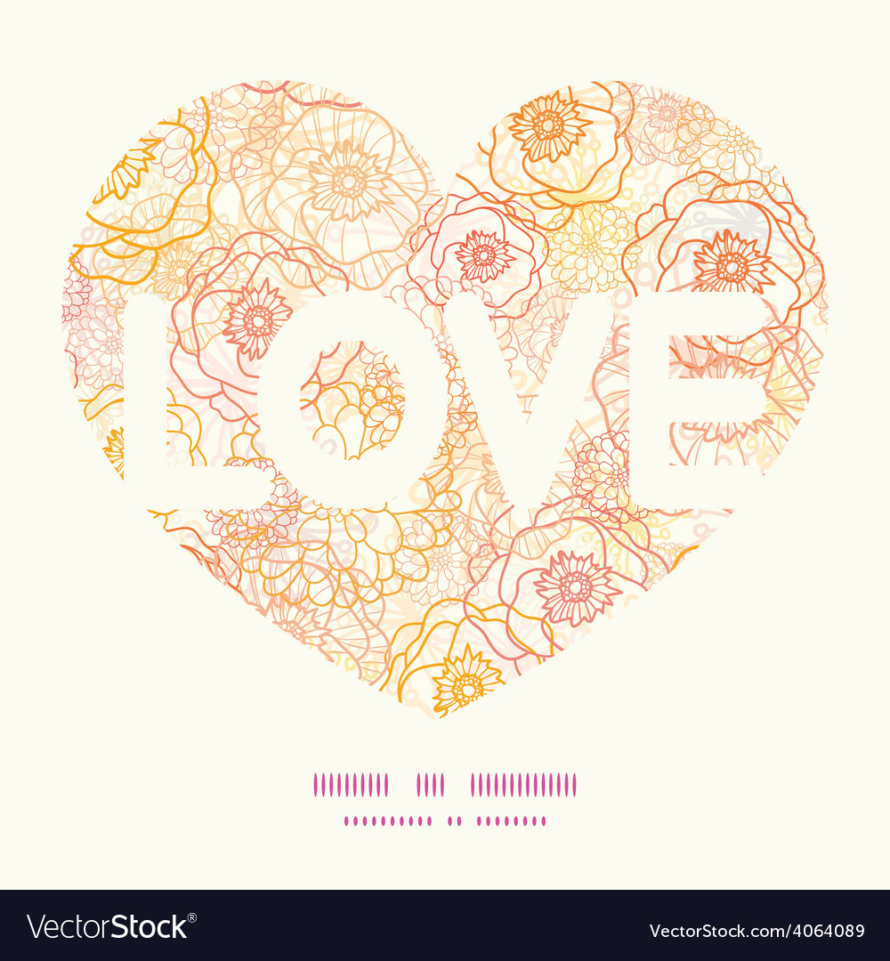 Warm flowers love text frame pattern vector | Price: 1 Credit (USD $1)