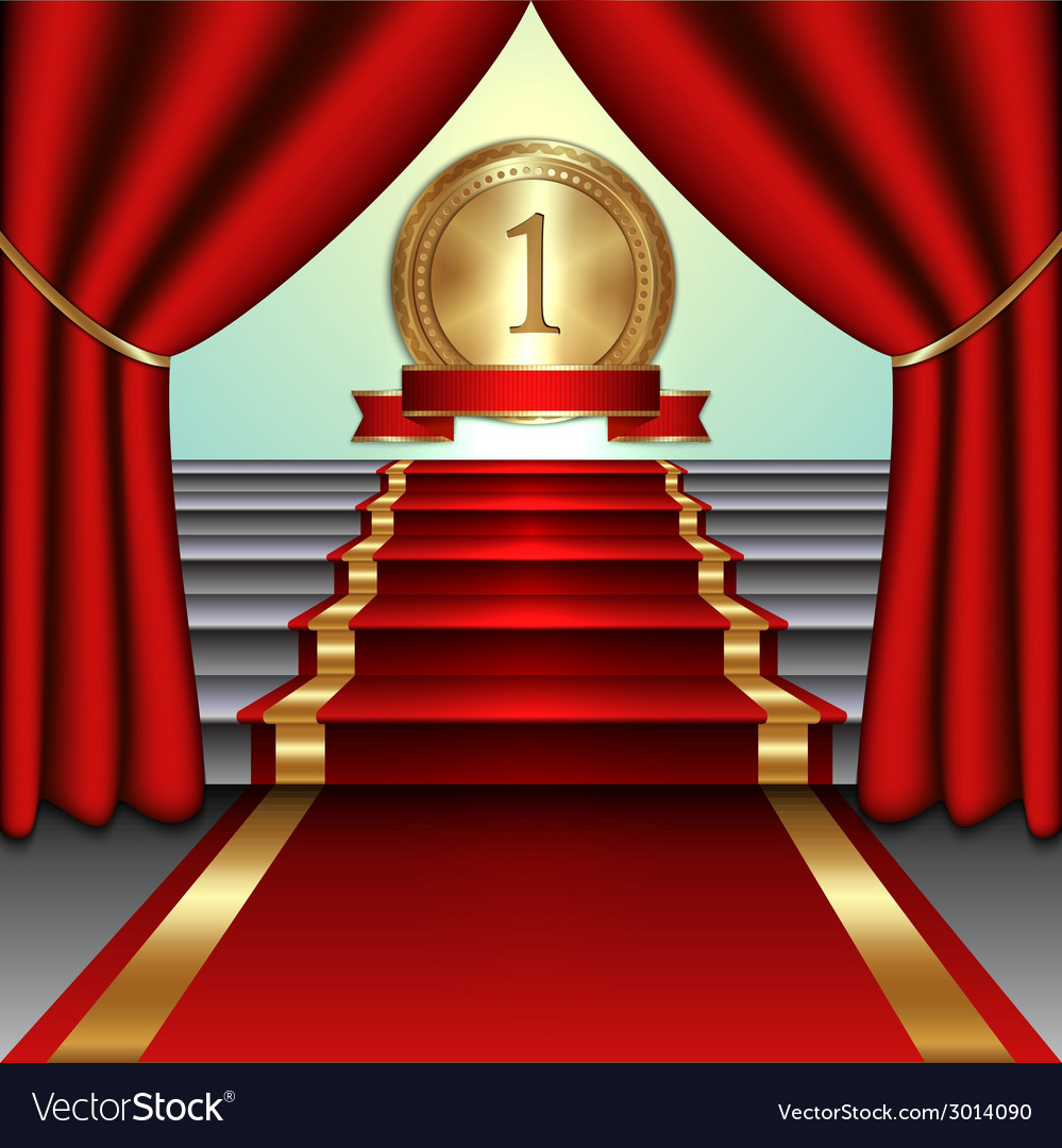 Abstract of curtains red carpet on staircase with vector | Price: 1 Credit (USD $1)