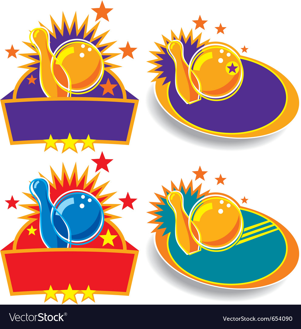 Bowling emblems vector | Price: 1 Credit (USD $1)