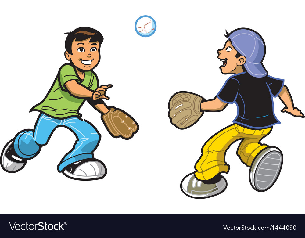 Boys playing catch vector | Price: 1 Credit (USD $1)