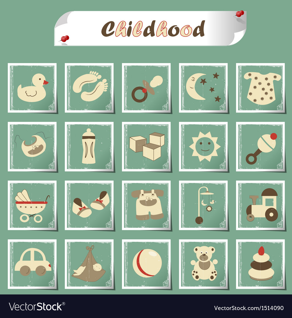 Childhood icons vector | Price: 3 Credit (USD $3)