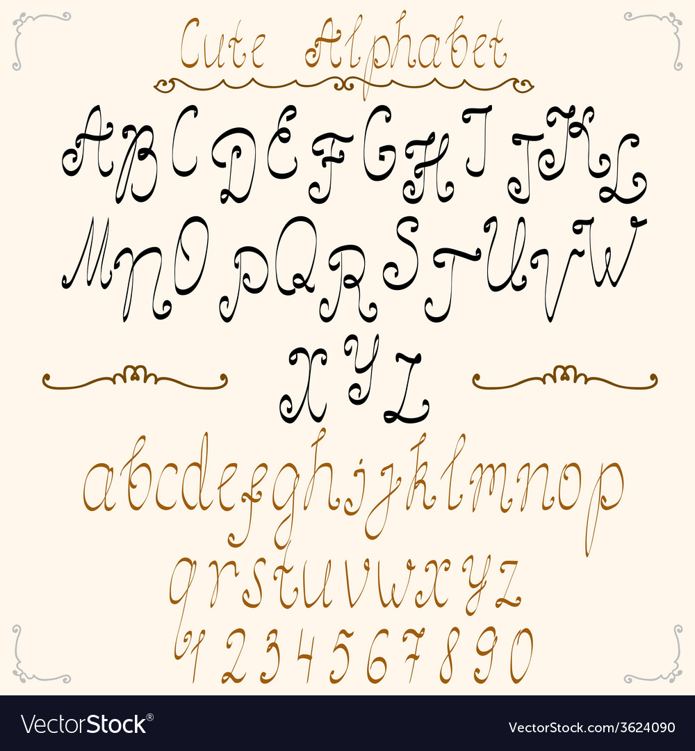 Cute calligraphical alphabet vector | Price: 1 Credit (USD $1)
