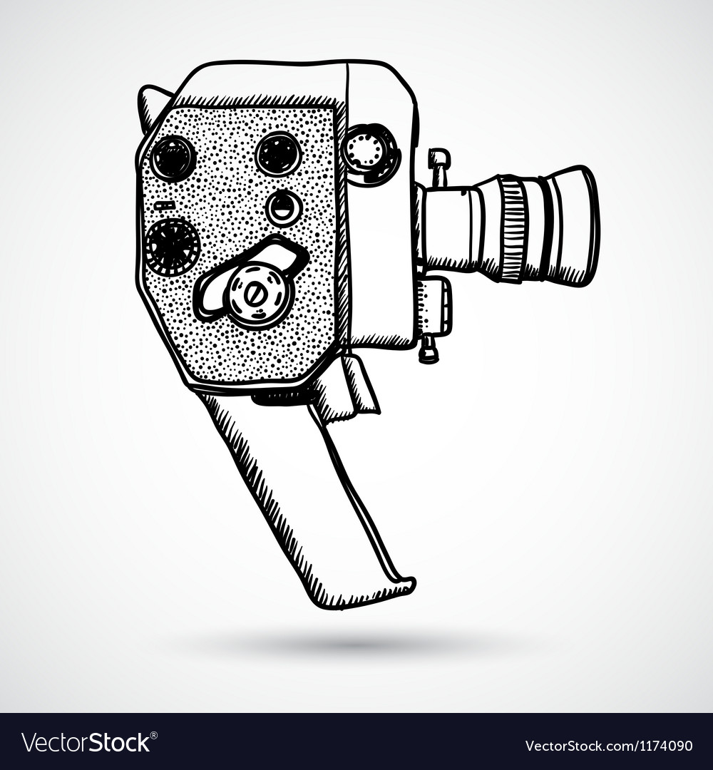 Doodle vintage movie camera vector | Price: 1 Credit (USD $1)