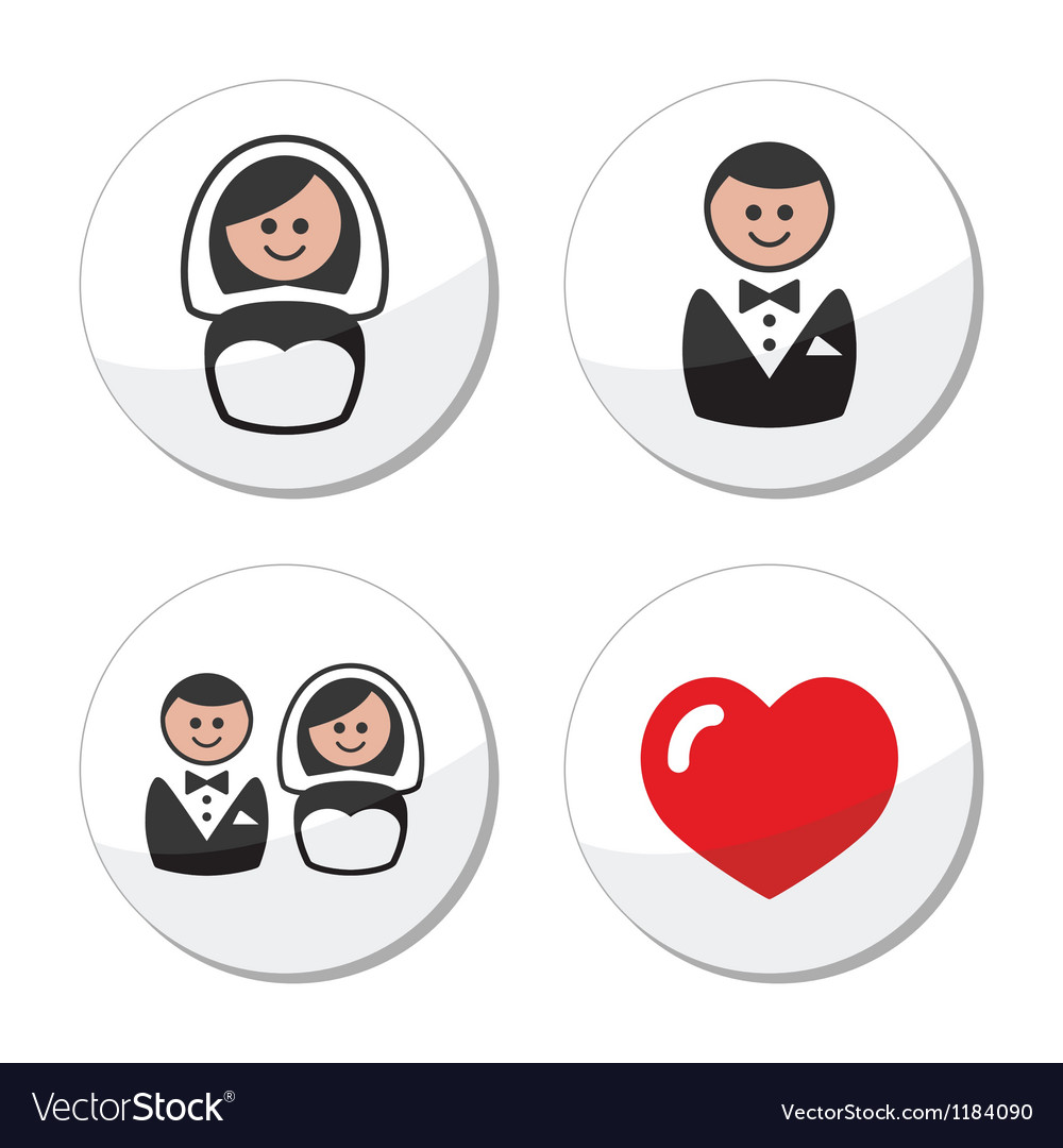 Groom and bride on round white labels vector | Price: 1 Credit (USD $1)