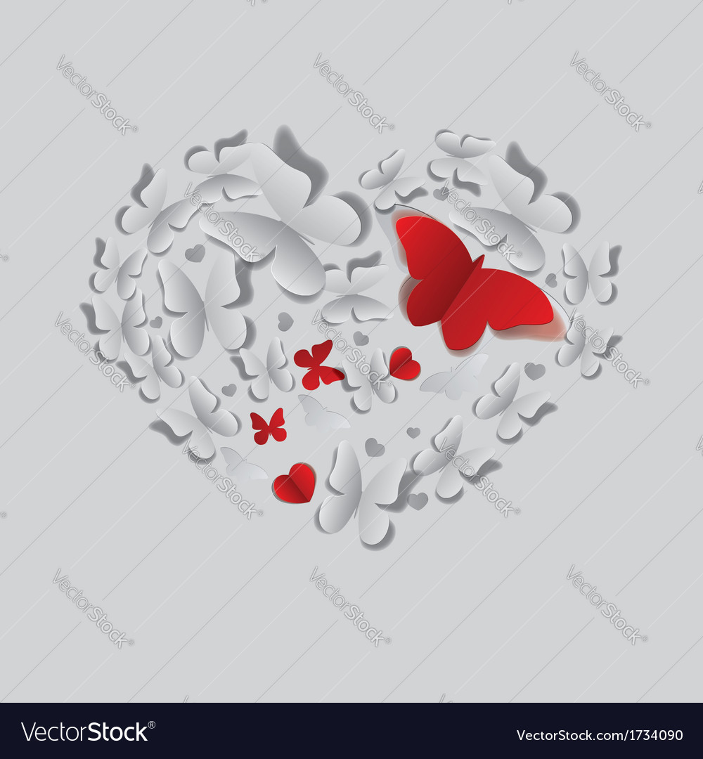 Heart of paper butterflies vector | Price: 1 Credit (USD $1)