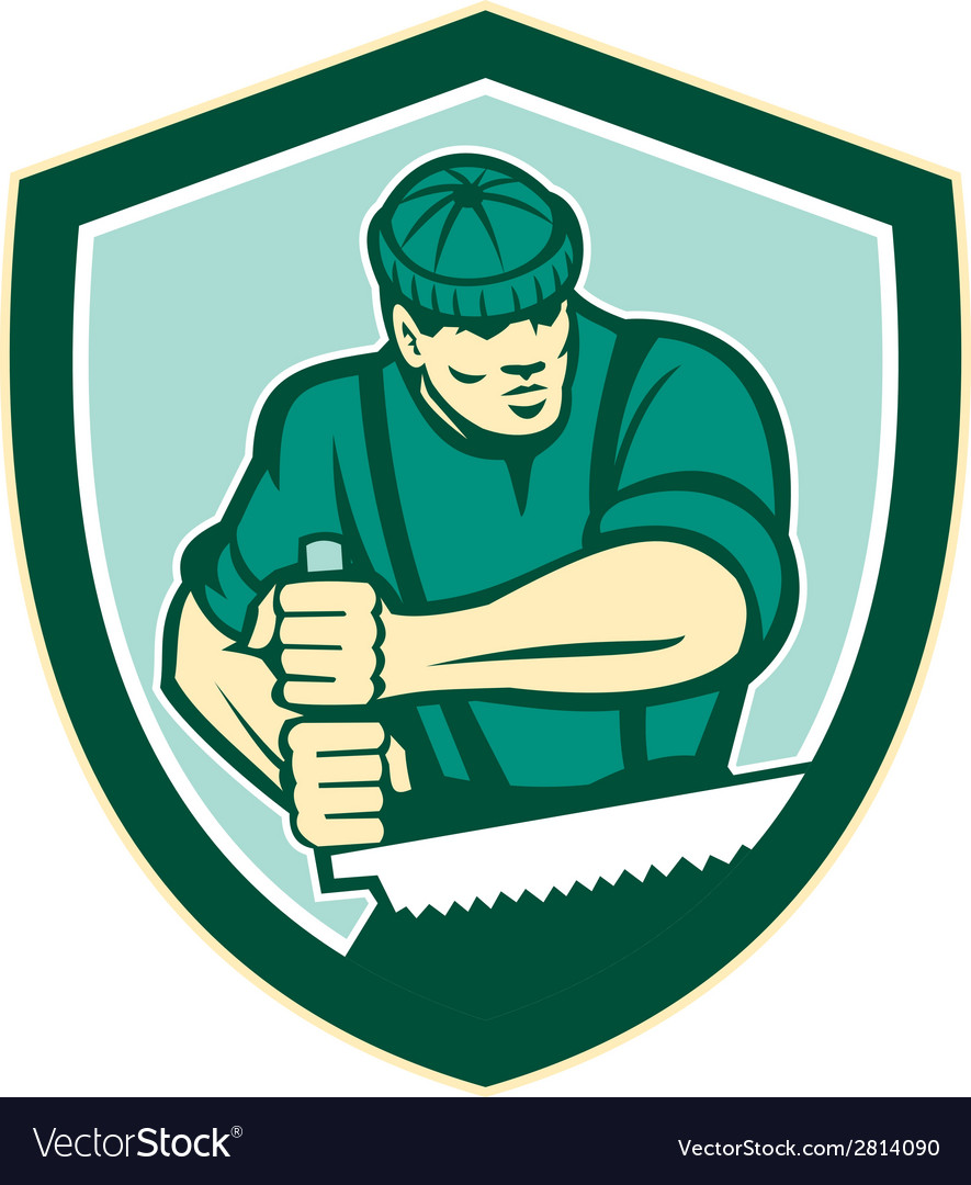 Lumberjack crosscut saw shield retro vector | Price: 1 Credit (USD $1)